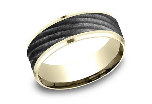 14Kt Yellow Gold and Ammara Stone Modern Men's Wedding Band