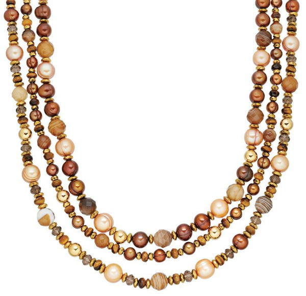 Chocolate Freshwater Pearl and Agate Bead triple strand necklace