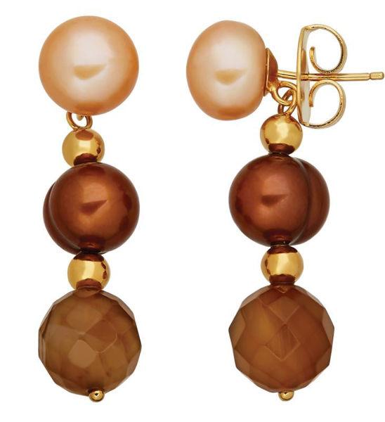 Chocolate Freshwater Pearls and Agate Bead dangle earrings