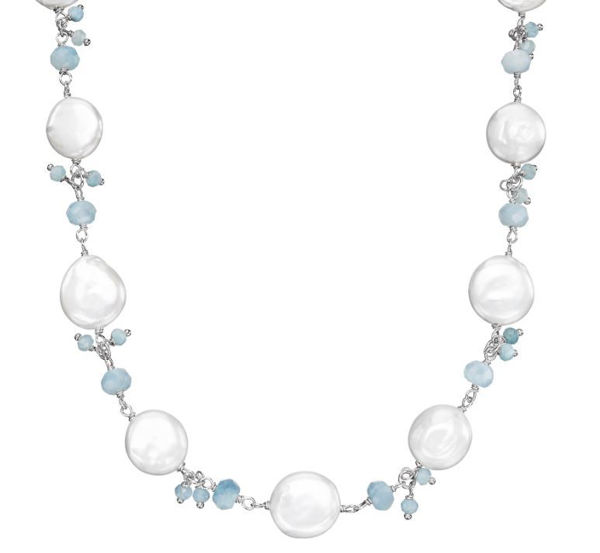 Solstice Coin Pearl and Aquamarine Necklace