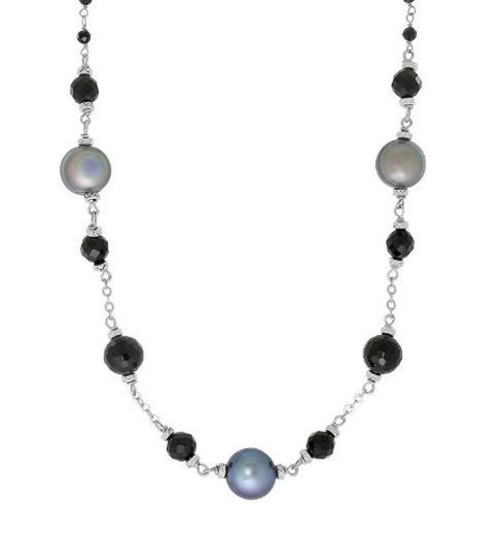 """18"""" After Dark Necklace with 8-9mm Peacock Freshwater Pearls"""