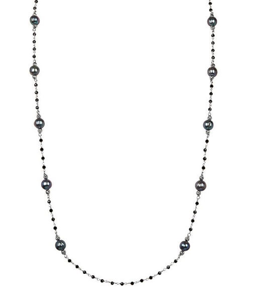 """After Dark 36.5"""" necklace with Peacock Pearls and Black Spinel"""