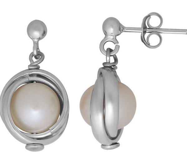 Silver Lining Freshwater Pearl knot earrings