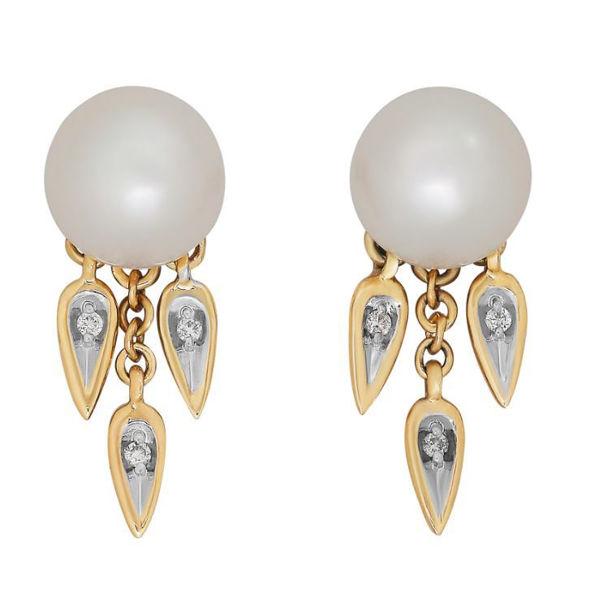 Diamond Drop Cultured Pearl and Diamond Earrings