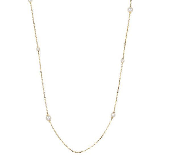 Cultured Pearl and Diamond Tin Cup Necklace