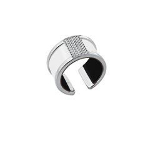12mm Silver Barrette Ring with Cubic Zirconia-Large