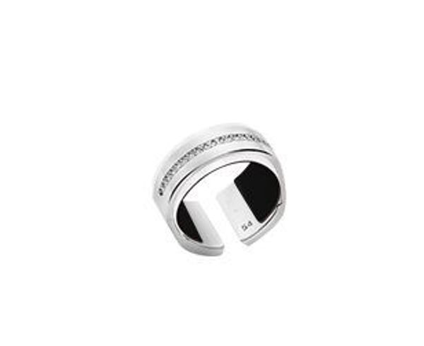 12mm Silver Bandeau Ring with Cubic Zirconia. Size Large