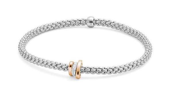 18Kt White gold Prima Flex it Bracelet with Diamond Pave