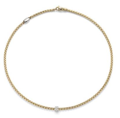 Necklace with a Diamond Pave Rondelle from the Eka Tiny Collection