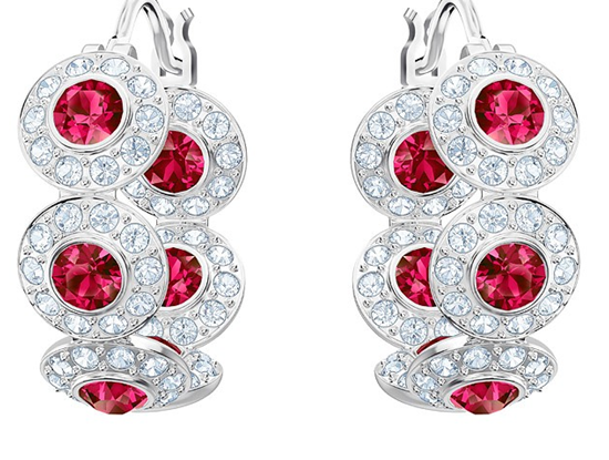Angelic hoop earrings with red crystals