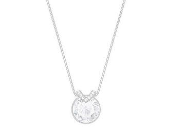 "Bella-Larger round crystal center with pave ""V"" necklace"