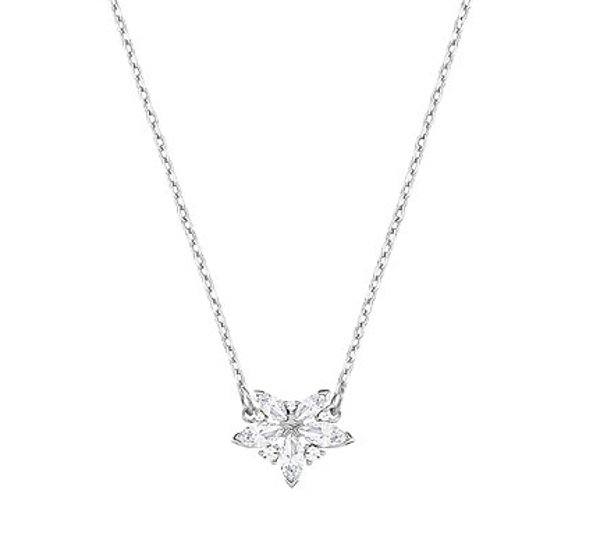 LADY NECKLACE, WHITE, RHODIUM PLATING