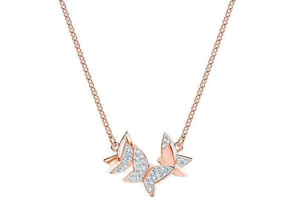 LILIA NECKLACE, SMALL, WHITE, ROSE GOLD PLATING