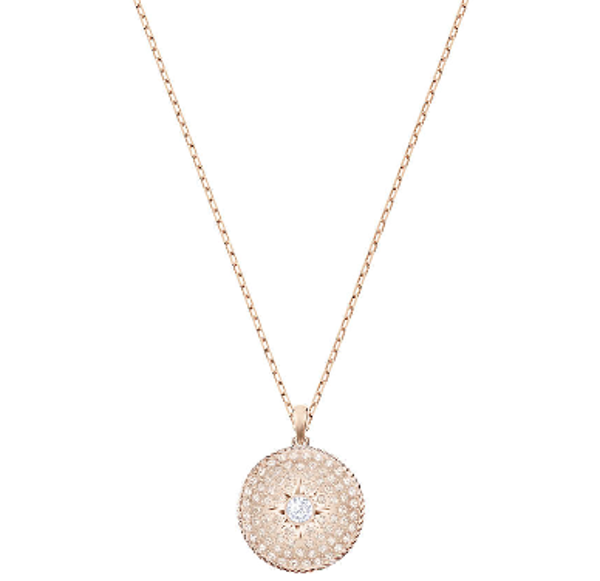 LOCKET PENDANT, SMALL, PINK, ROSE GOLD PLATING