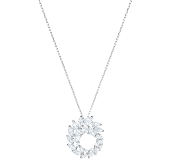 LOUISON PENDANT, WHITE, RHODIUM PLATING