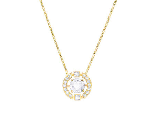 SPARKLING DANCE ROUND NECKLACE, WHITE, GOLD PLATING