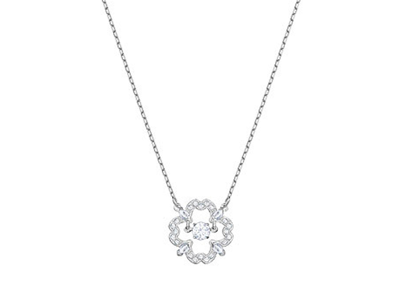 SPARKLING DANCE PEAR NECKLACE, WHITE, RHODIUM PLATING