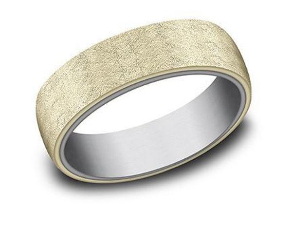 Ammara Stone yellow gold band w/ Swirl Finish over Grey Tantalum.