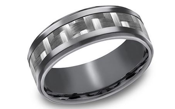 8mm Grey Tantalum band with a Carbon Fiber Inlay