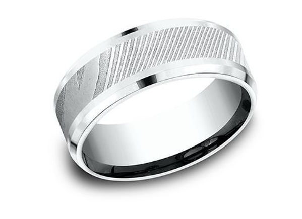 8mm Ammara Stone 14Kt White gold Band with Drop Bevel Edges and a Damascus Inlay