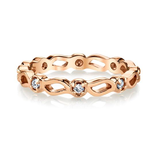 14Kt Rose Gold Wave Pattern Stackable Diamond Band