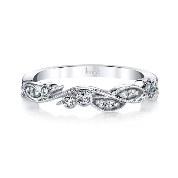 14Kt White Gold Vine Pattern Diamond Band