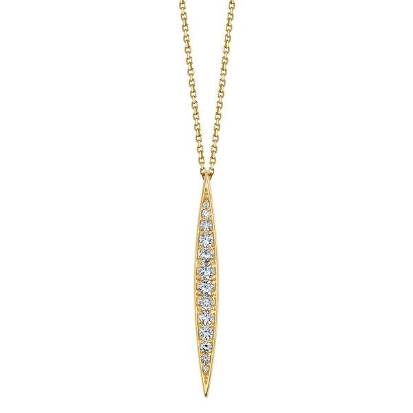 14Kt Yellow Gold Elongated Diamond Pendant