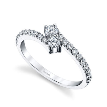14Kt White Gold Two Stone Diamond Ring