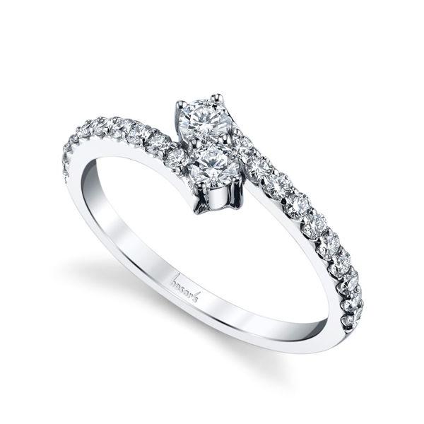 14Kt White Gold Two Stone Diamond Ring