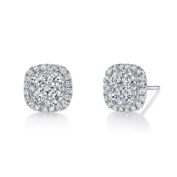 18Kt White Gold Vintage Flair Diamond Cluster Earrings