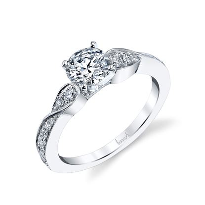 14Kt White Gold Classic Engagement Ring with milgrain detail.