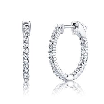 14Kt White Gold Classic Shared prong Hoop Earrings