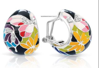 Sterling Silver Butterfly Kisses Multicolor Enamel Earrings.
