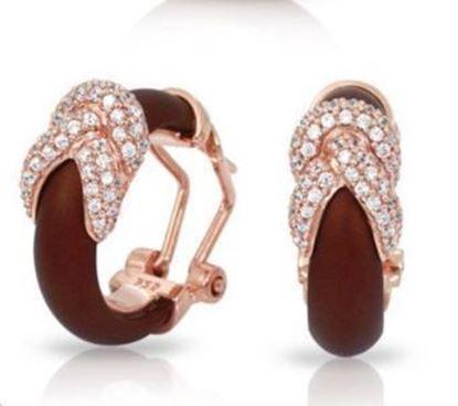 Sterling Silver Ariadne Brown Italian Rubber Hoop Earrings.