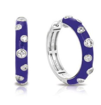 Sterling Silver Glitter Iris Blue Hoop Earrings.