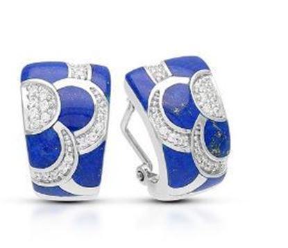 Sterling Silver Adina Genuine Lapis Lazuli Earrings.