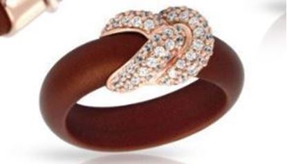 Sterling Silver Ariadne Brown Italian Rubber Ring.