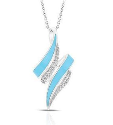 Sterling Silver Aria Larimar Blue Enamel Pendant.