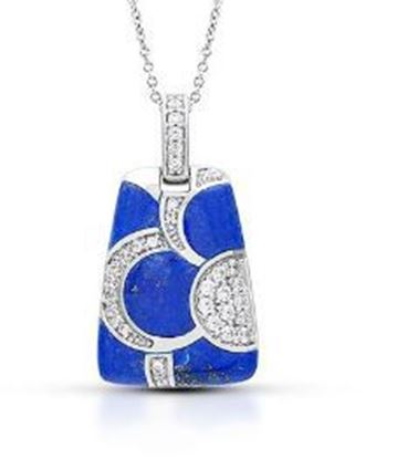 Sterling Silver Adina Genuine Lapis Lazuli Pendant.