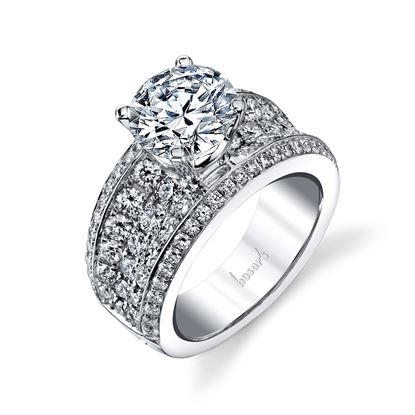 14Kt White Gold Concave Pave Set Diamond Ring