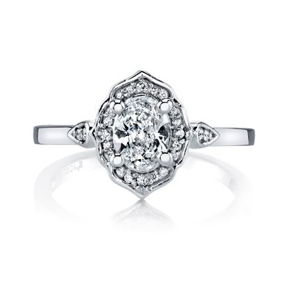 14Kt White gold Vintage Oval Halo Engagement Ring