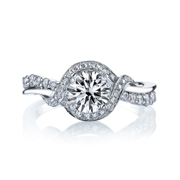 14Kt White Gold Twisted Halo Engagement Ring