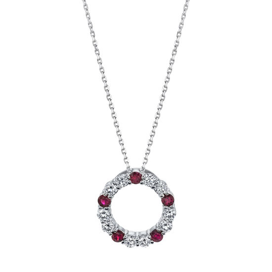 14Kt White Gold Natural Ruby and Diamond Circle Pendant
