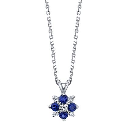 14Kt White Gold Blue Sapphire and Diamond Pendant