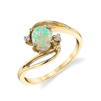 14kt Yellow Gold Opal and Diamond Ring