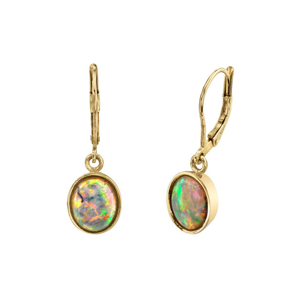 One of a Kind 14kt Yellow Gold Natural Ethiopian Opal Dangle Earrings