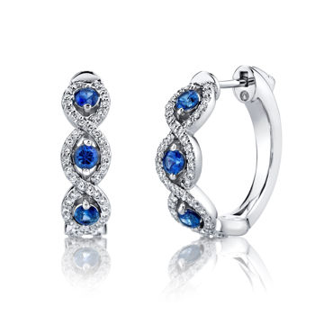14kt White Gold Natural Sapphire and Diamond Hoop Earrings