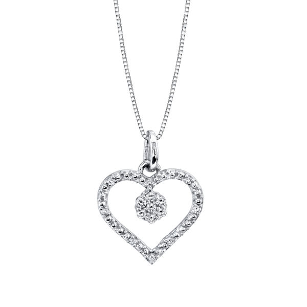 Pave set Diamond Heart with Diamond Charm