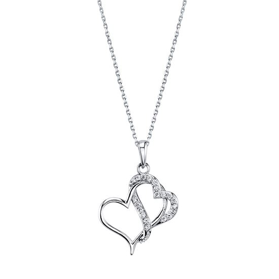 Interlocking Double Diamond Heart Pendant