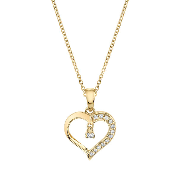 Modern Yellow Gold Diamond Accented Heart Pendant